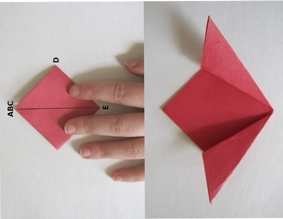 We continue to fold the flower from the paper with our hands