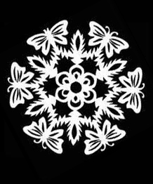 Templates for cutting snowflakes