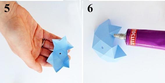 наносим клей на заготовку звезды из бумаги