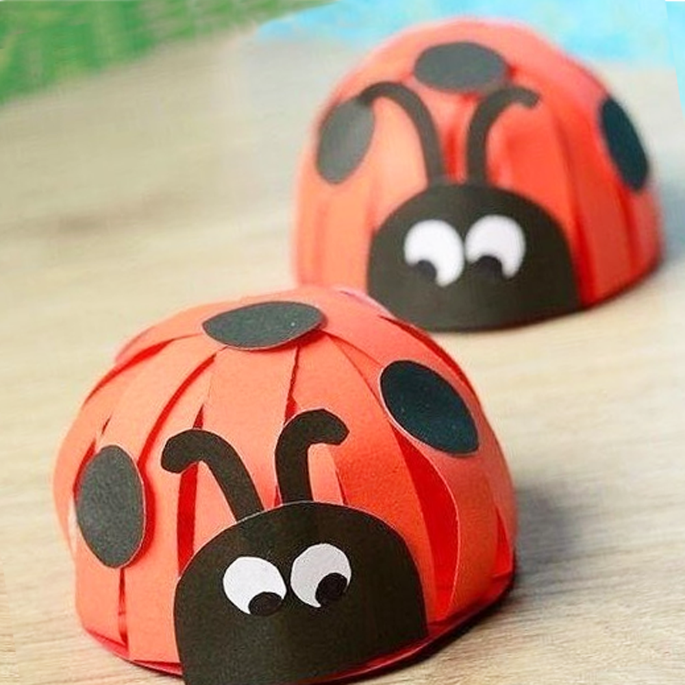 Ladybug from paper with his hands hand maid