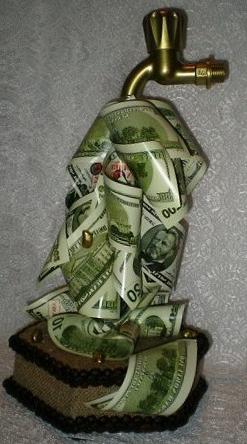 кран из денег хенд мейд