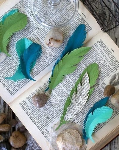 Paper feathers hand made