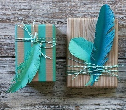 Ornament with paper feathers