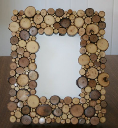 Photo frame from cut twigs