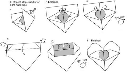 схема2 создания оригами сердца из купюры