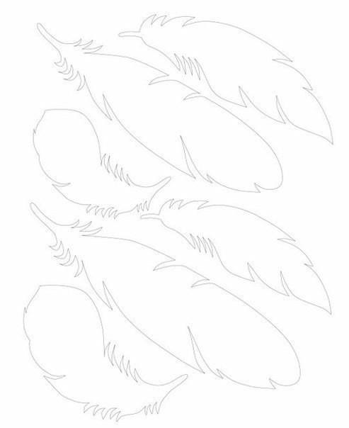 трафарет перьев из бумаги