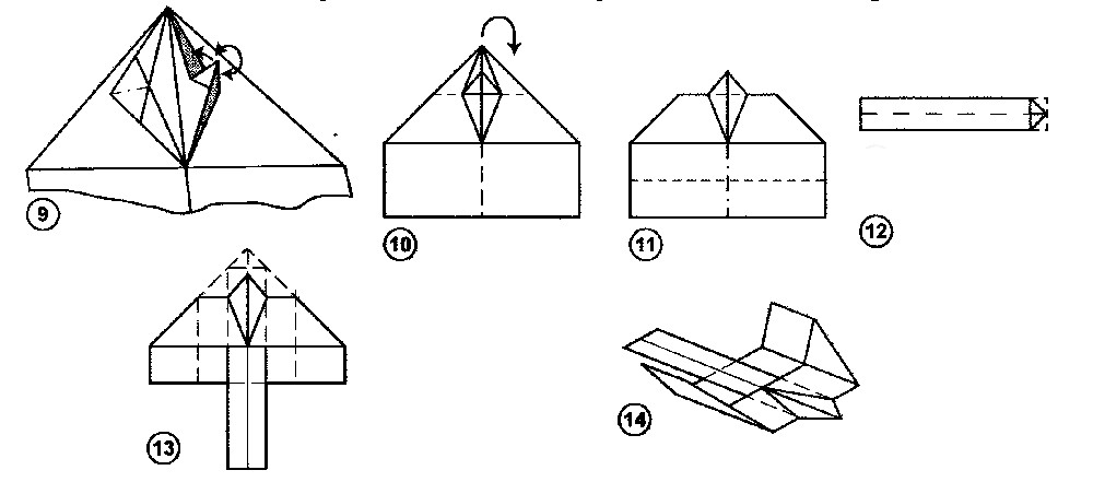 Scheme of assembling a dove of paper with his own hands