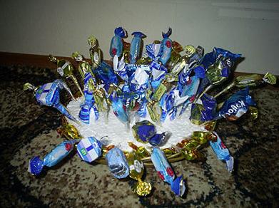 заполняем основу конфетами