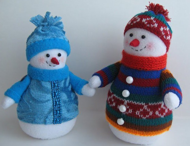 Snowmen from the fabric with his own hands