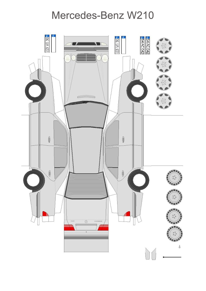 Mercedes-Benz W210 машина из бумаги