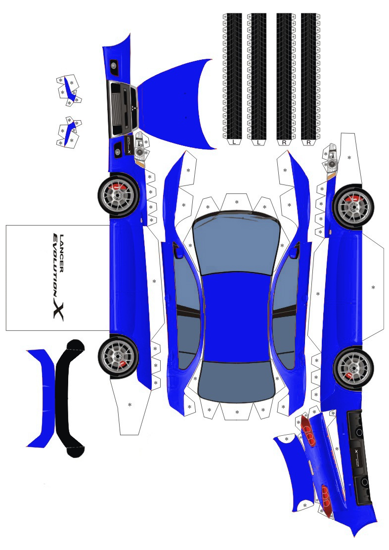 Mitsubishi Lancer Evolution X схема из бумаги