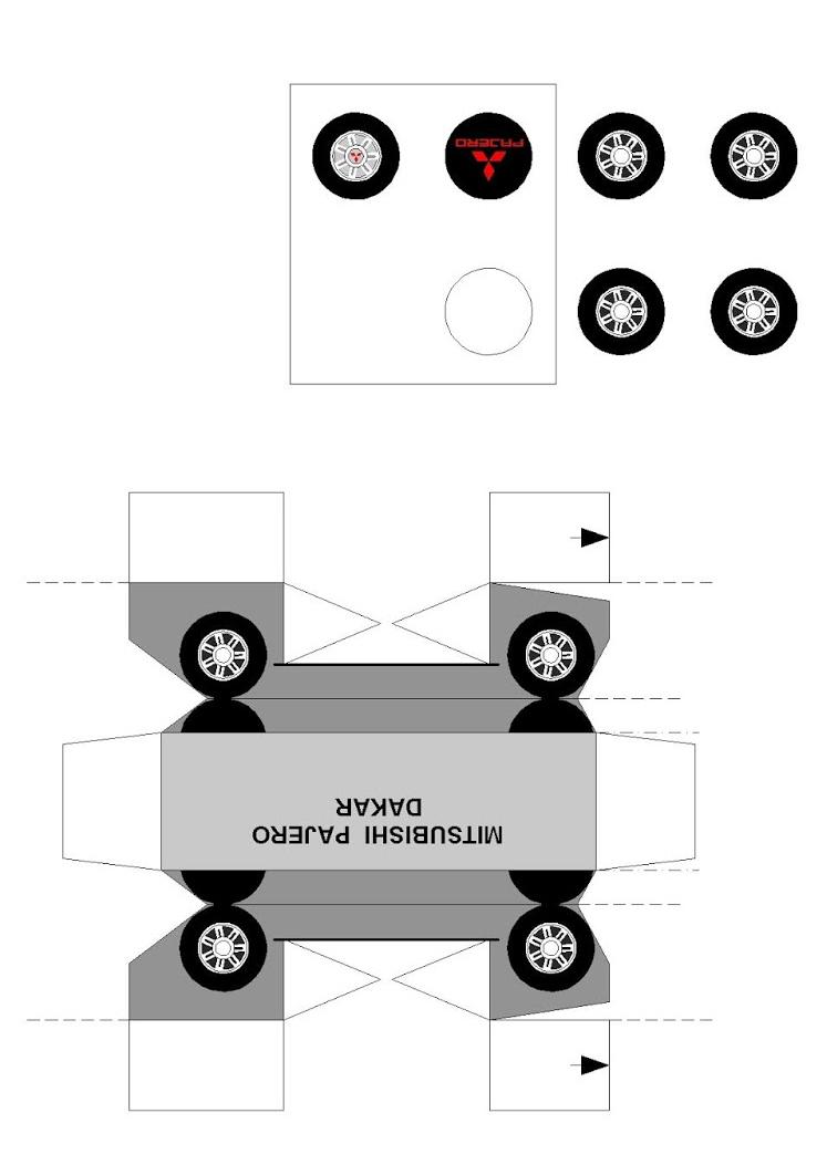 схема Mitsubishi Pajero Dakar из бумаги