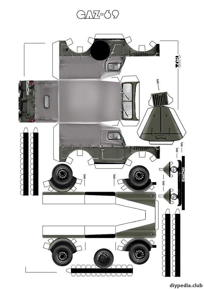 машина ГАЗ 69 из бумаги