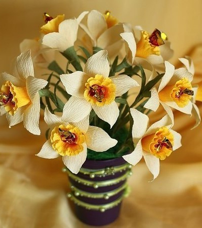 Daffodils of candys and corrugated paper
