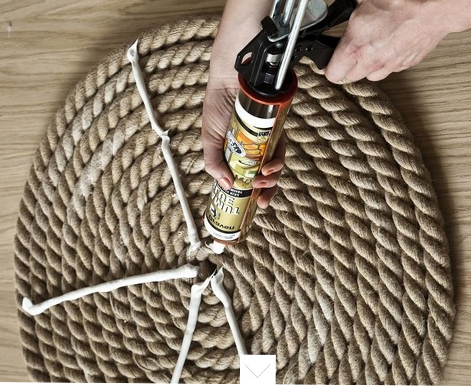 Fix glue carpet from rope