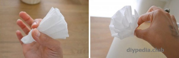 Forming a flower from a coffee filter