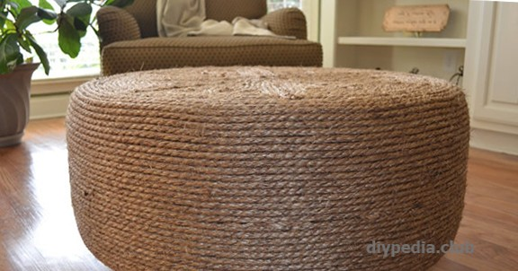 An ottoman from a tyre