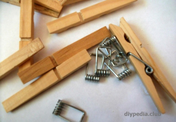 Remove springs from clothespins