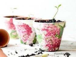 Decoupage of flower pots