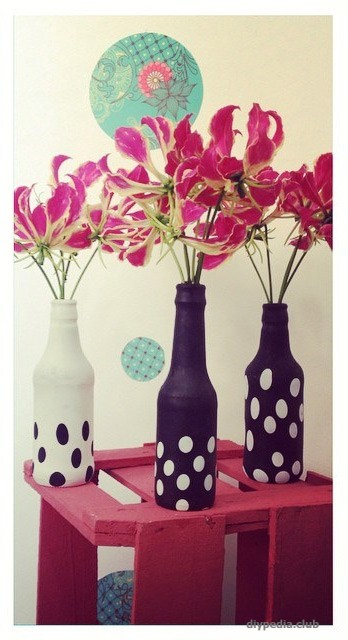 Vases of bottles with your hands photo