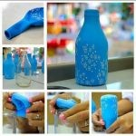 Vase of glass bottle with your own hands