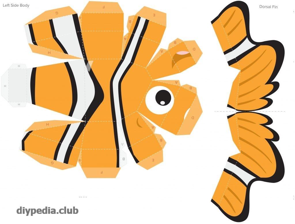 шаблон рыбки из бумаги