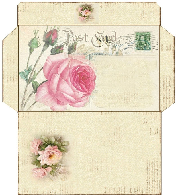 Vintage templates for printing paper envelopes