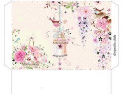 Floral templates for printing envelopes