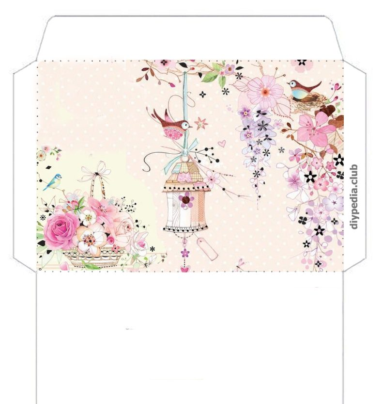 Floral templates for printing envelopes