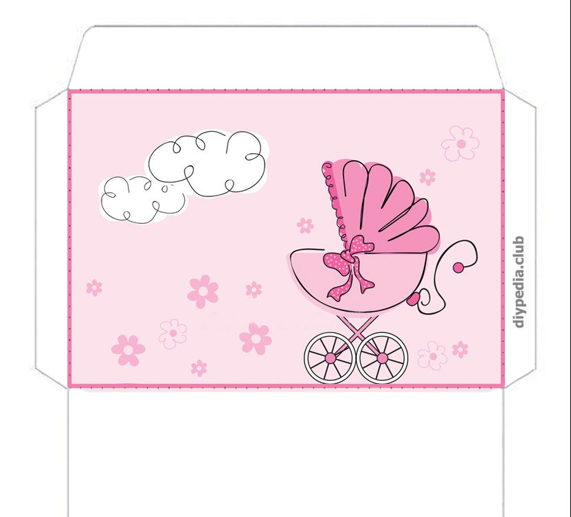 Templates of children's envelopes for discharge from maternity hospital