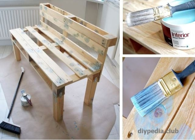 Bench of pallets with your hands