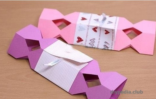 коробочка конфета из бумаги