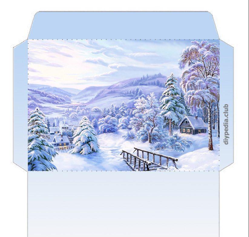 Конверт из бумаги (зимние шаблоны для распечатки)