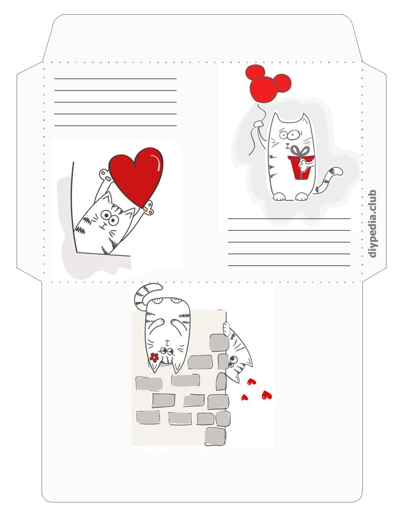 романтический конверт для письма