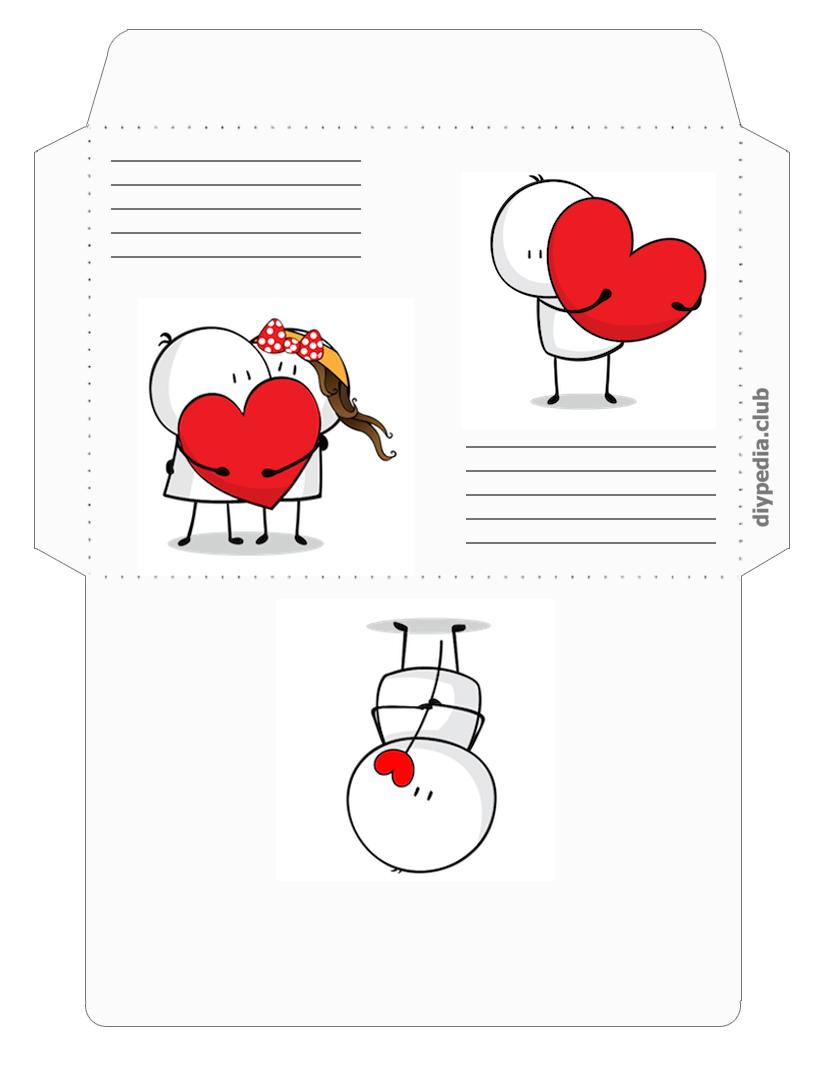 романтические почтовые конверты для писем распечатать