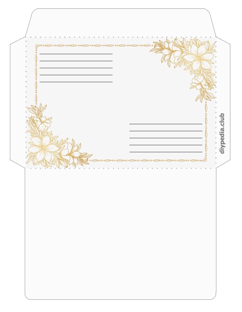 цветочный почтовый конверт шаблон