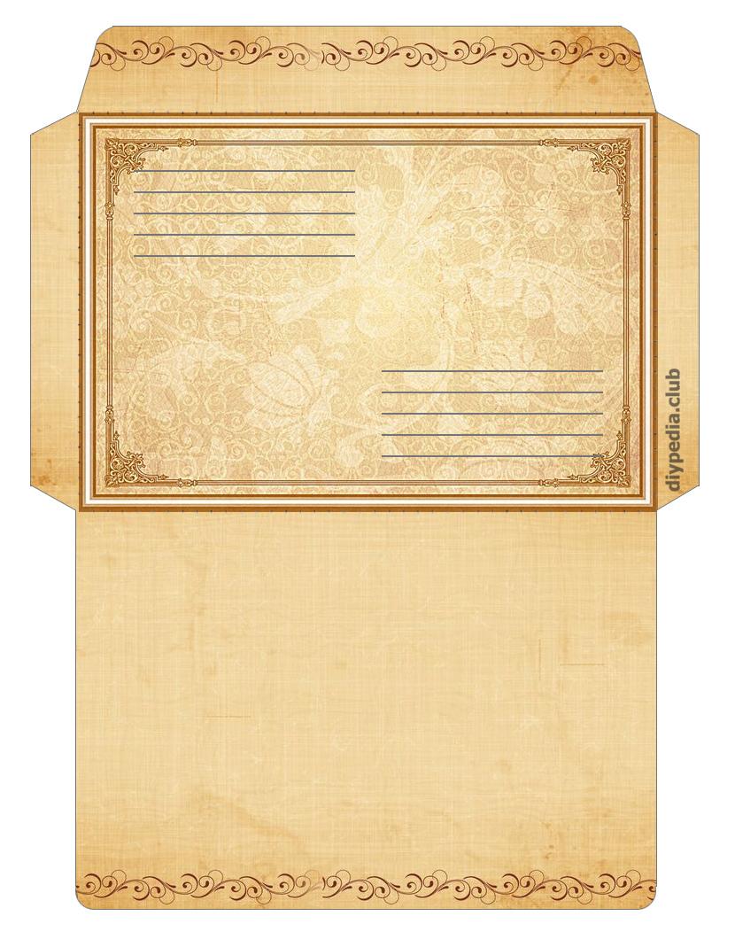Винтажный почтовый конверт шаблон конверта для печати на а4