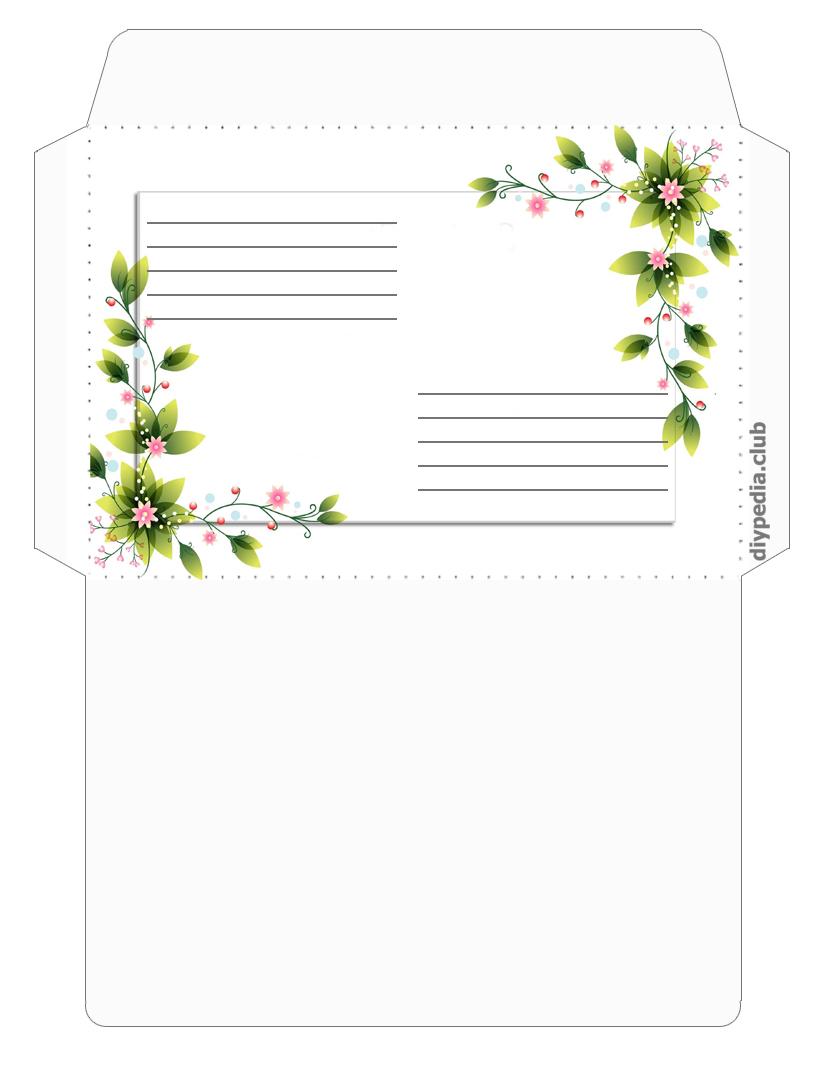 цветочный конверт для письма