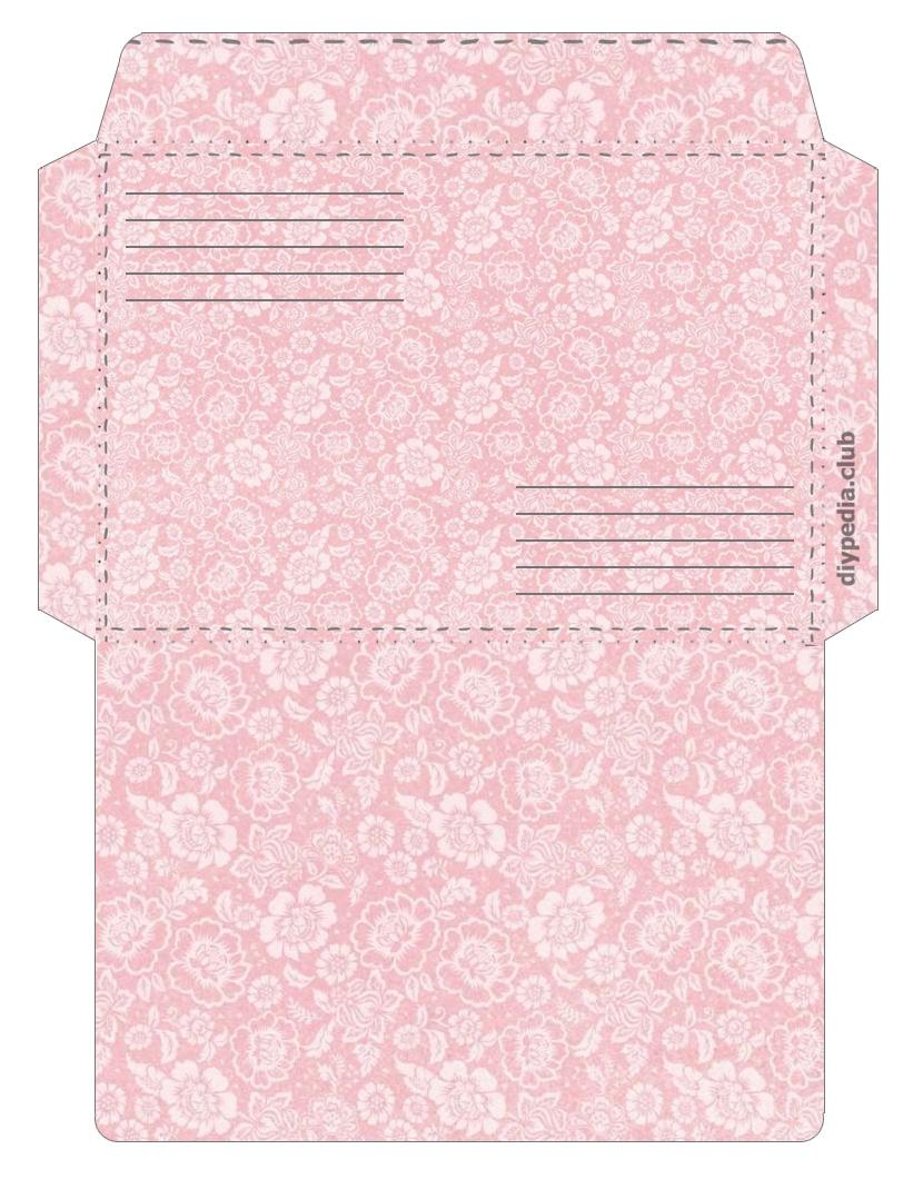 цветочный конверт для письма шаблон