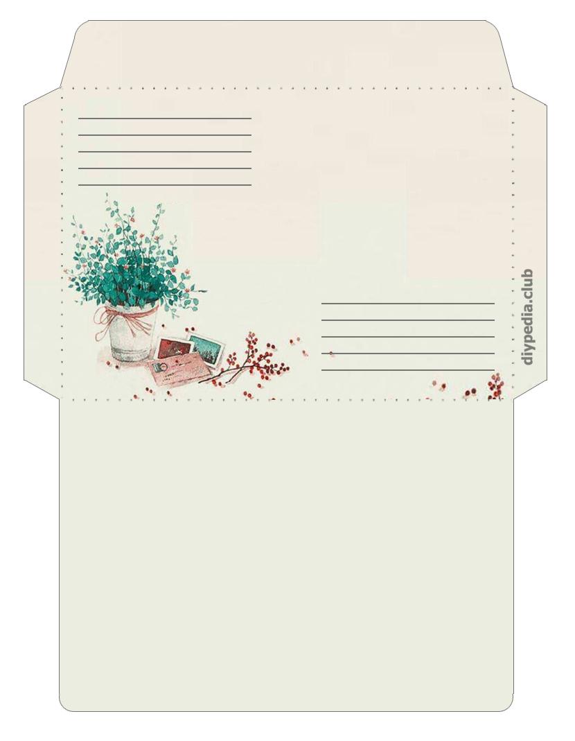 винтажный шаблон конверта для письма