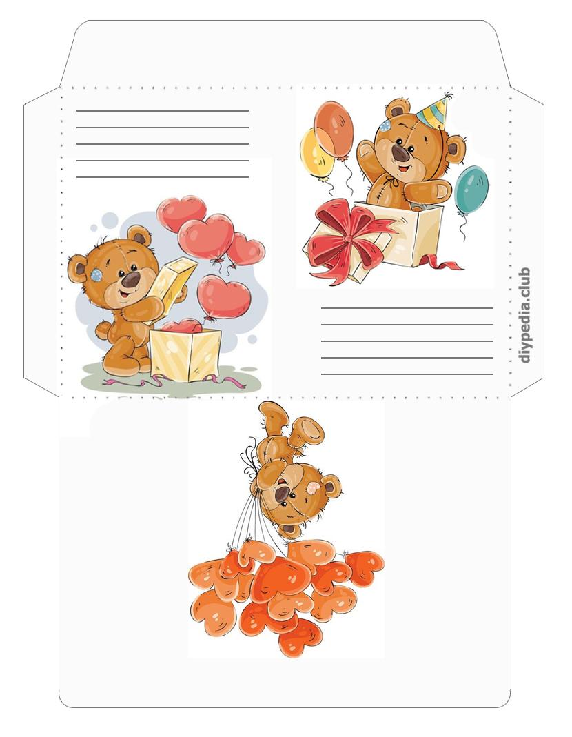 праздничный шаблон конверта для письма
