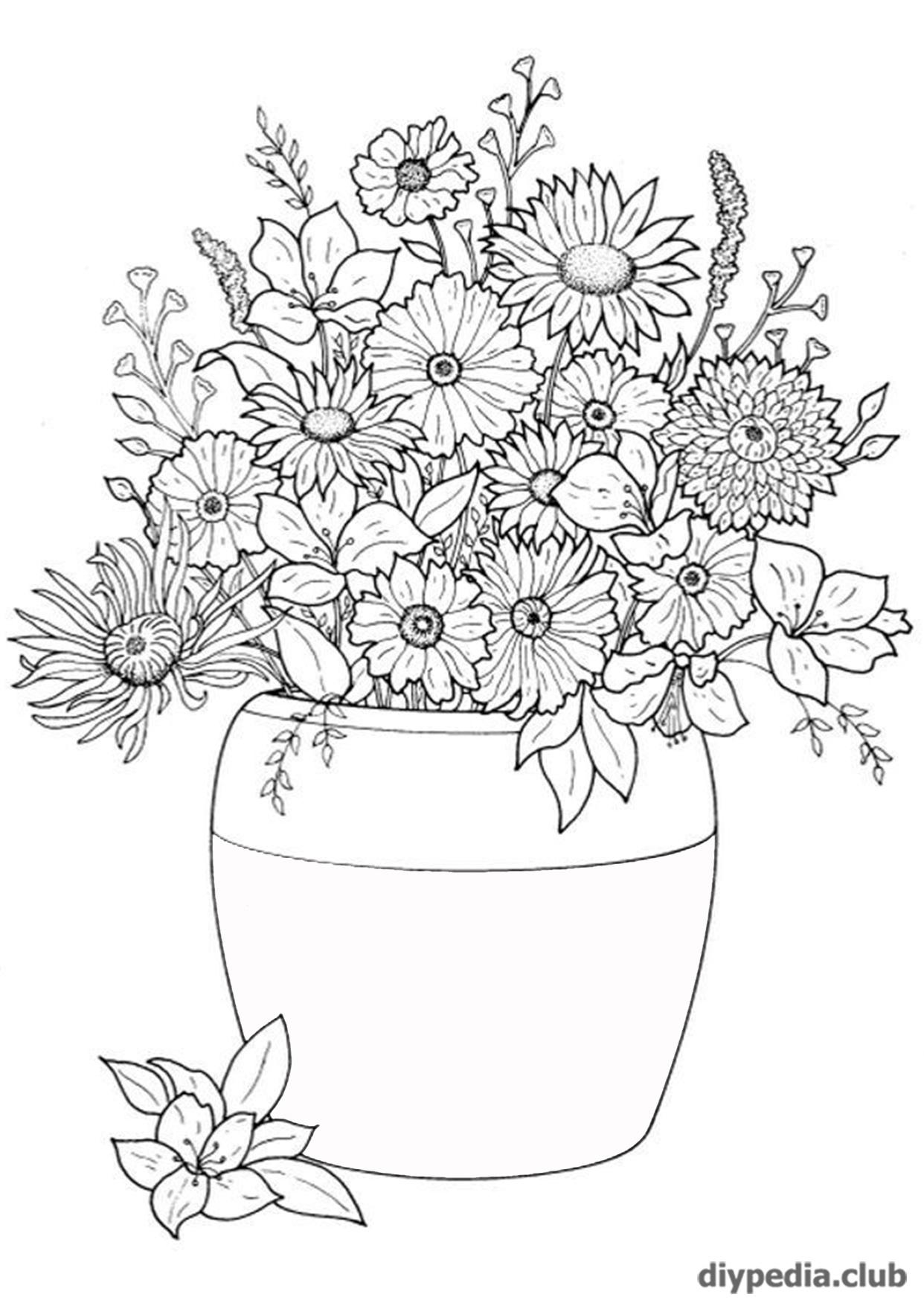 распечатать раскраски цветы на а 4