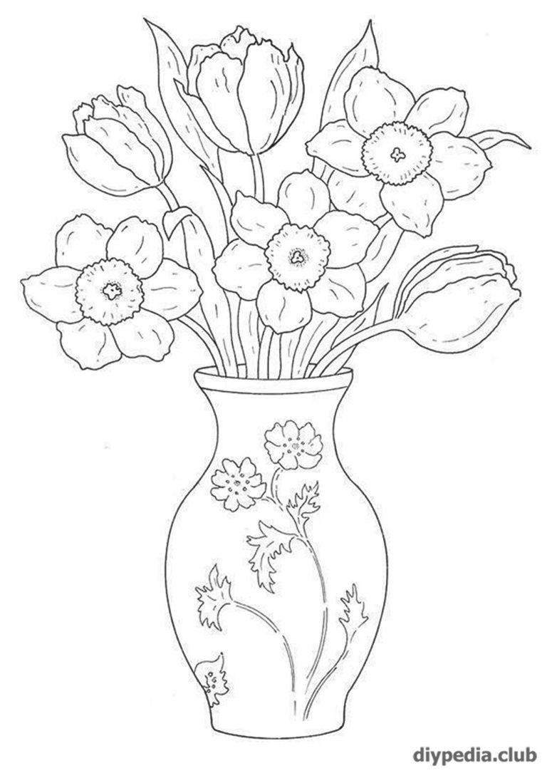Надписями смыслом, ваза с цветами раскраска для детей