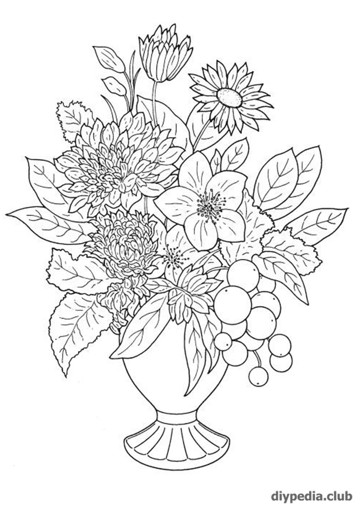 цветы раскраска для детей распечатать