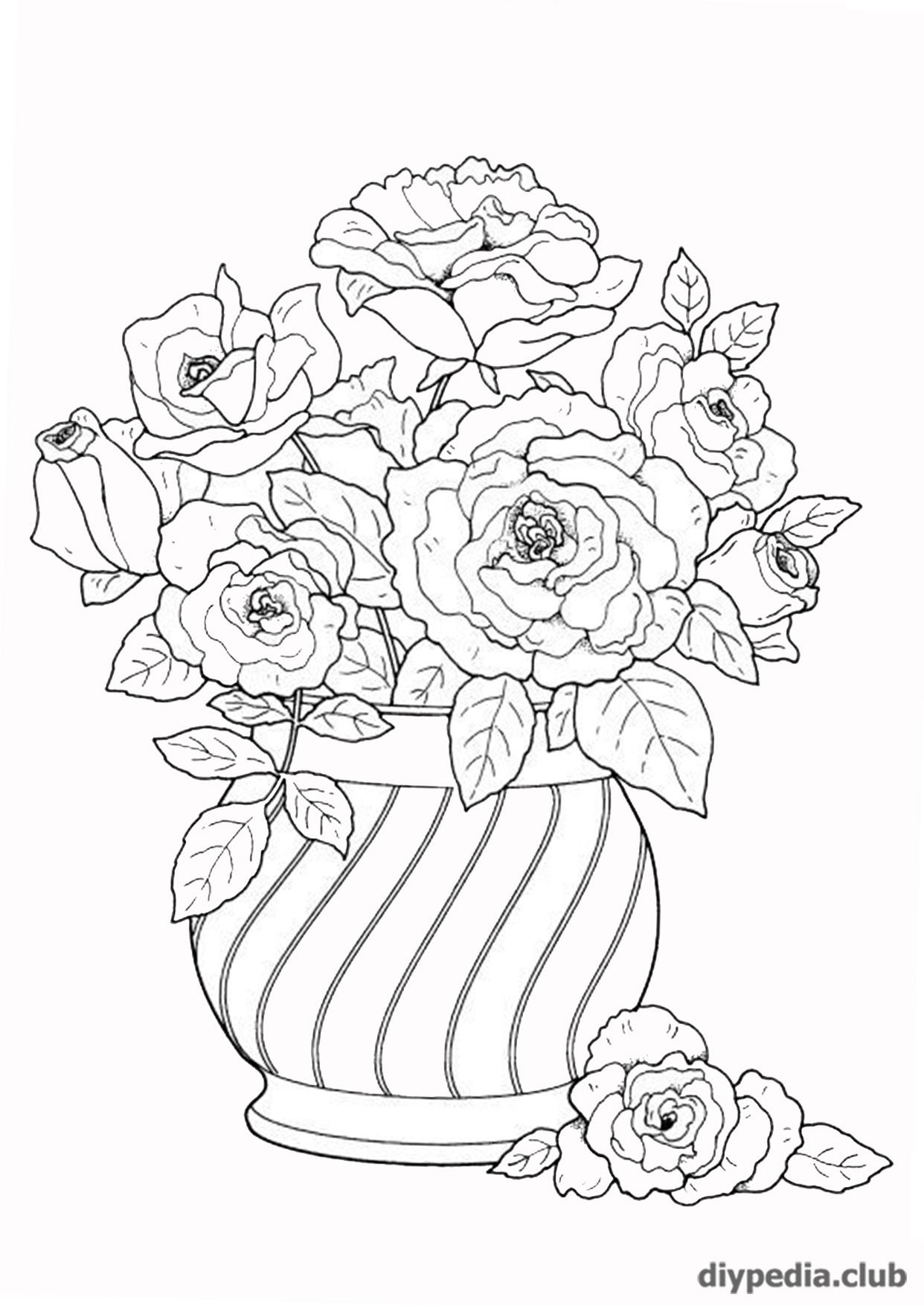 """Картинка-раскраска """"цветы"""" на А 4 • DIYpedia"""