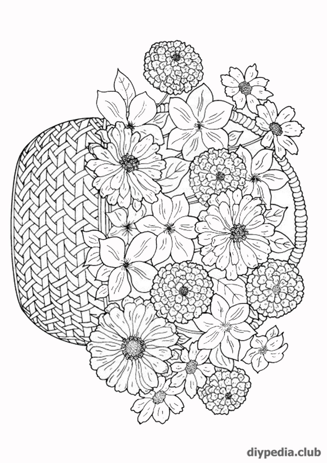 букет цветов раскраска
