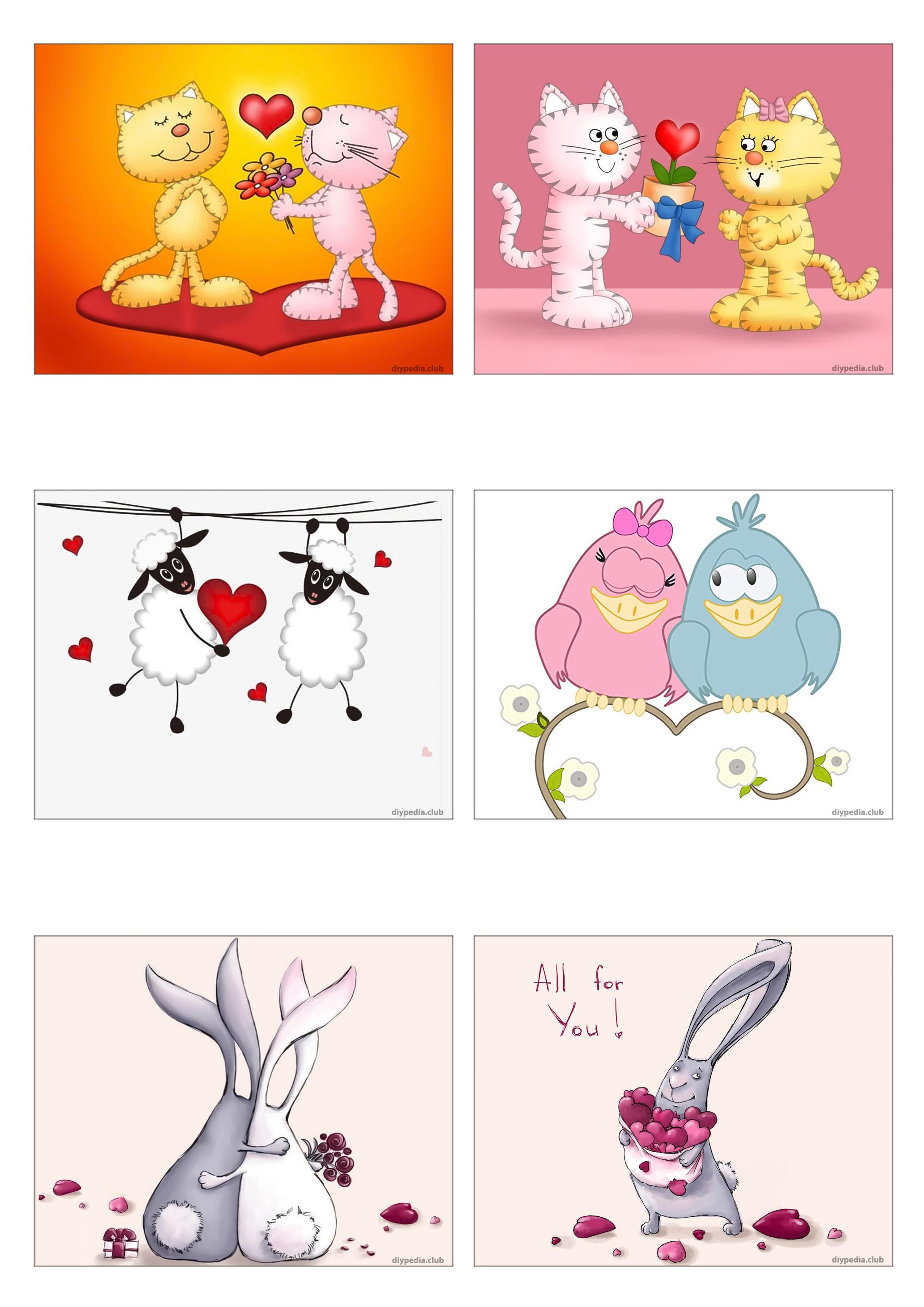 маленькие открытки (веселые) распечатать